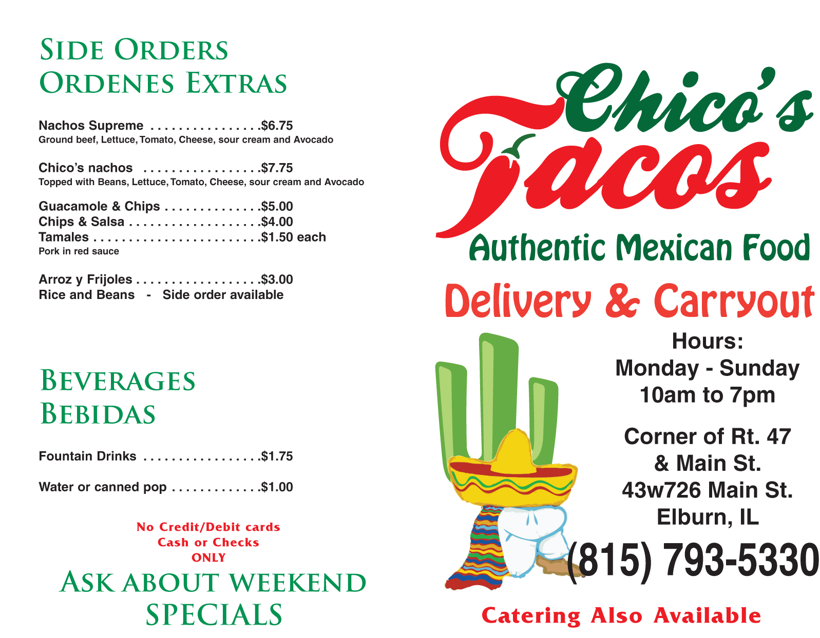 Chico S Tacos Menus The Hairy Ant